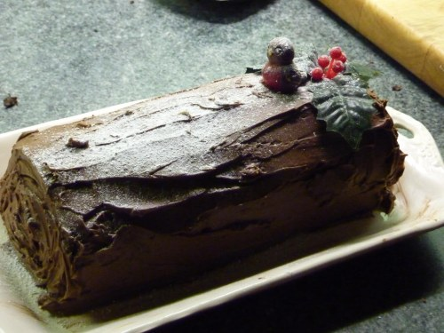 Chocolate Log with (original 30+ yr old) Robin.