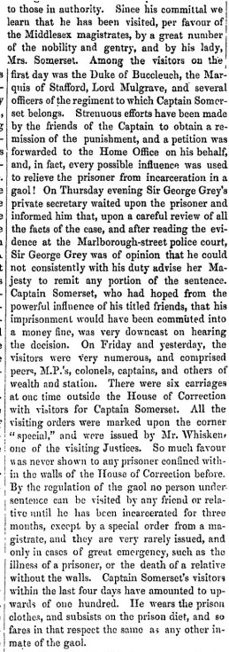 Captain Somerset in prison - reported in the Otago Witness 1 Nov 1851