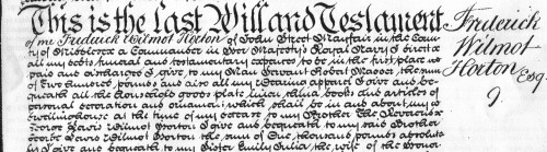 Will of Frederick Wilmot Horton 1855 (TNA ref: PROB 11/2206/212