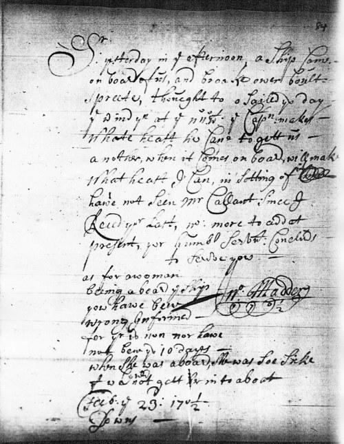 Letter from John Madder 23 Feb 1701/2 (LMA - MS 24178/84)