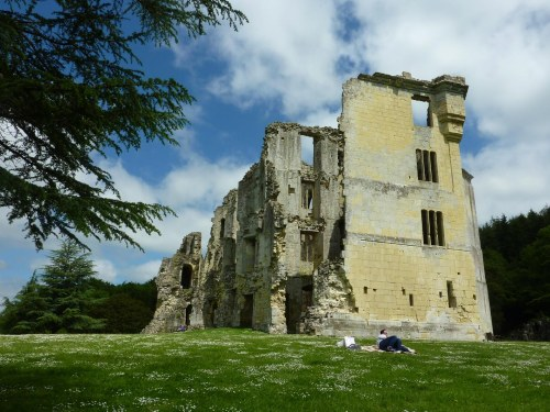 Relaxing at Old Wardour Castle