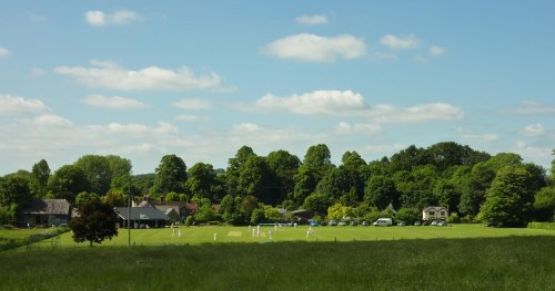 Typical English scene. Village cricket on a Sunday afternoon. (The Compasses pub is just behind the pavilion)