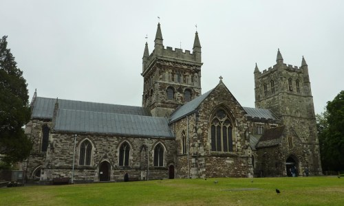 Wimbourne Minster, looking rather grey.
