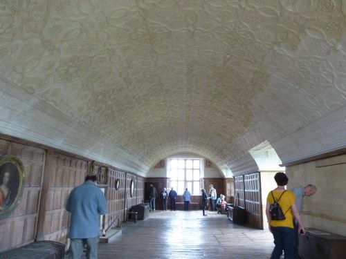 Impressive Long Gallery at Chastleton House with plaster ceiling