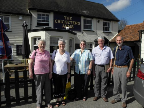 The Everard reunion outside the Cricketers Arms in Danbury