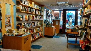 View from the help desk in Hunts Bookshop - waiting for customers.