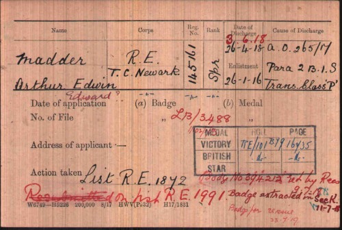 Medal Card of Arthur Edwin Edward Madder