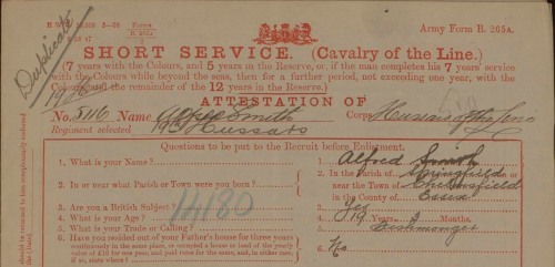 Attestation of Alfred Smith, Jan 1901