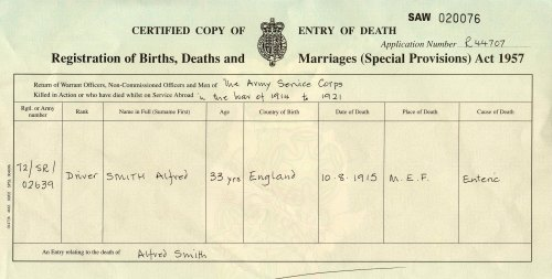 Death Certificate of Alfred Smith, died 1915