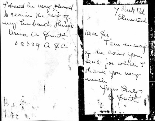 Letter from Ethel Mary Smith on receipt of coins.