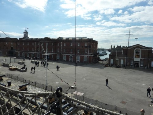 View from the deck of HMS Victory. Museum is the building in the centre.